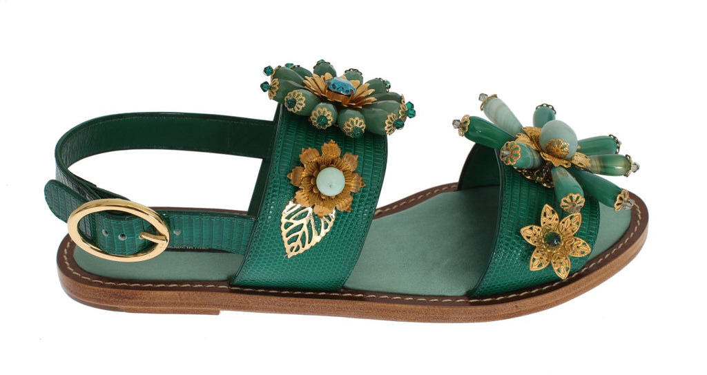 Green Leather Crystal Sandal Shoes