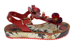 Red Crystal Floral Print Sandal Shoes