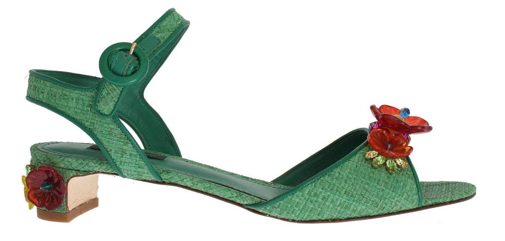 Green Paglia Floral Crystal Sandal Shoes