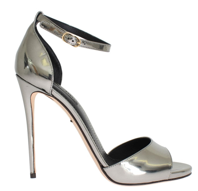 Silver Metallic Leather Sandal Shoes