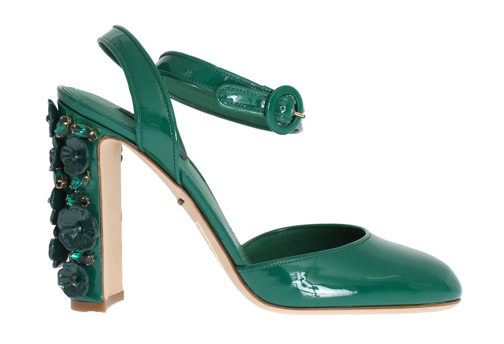 Green Patent Leather Floral Crystal Shoes