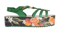 Green Leather Orange Print Sandal Shoes