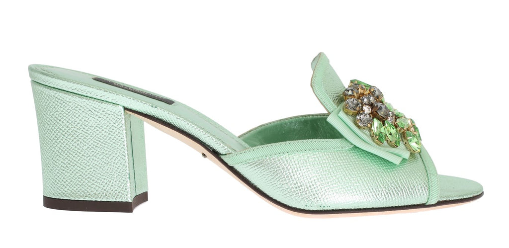 Green Leather Mules Crystal Sandal Shoes