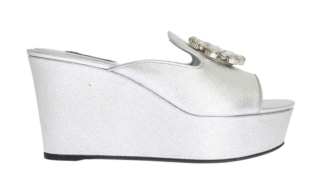 Silver Leather Mules Crystal Sandal Shoes