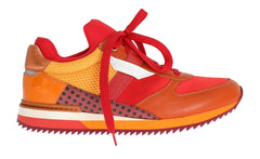 Orange Leather Sport Sneakers