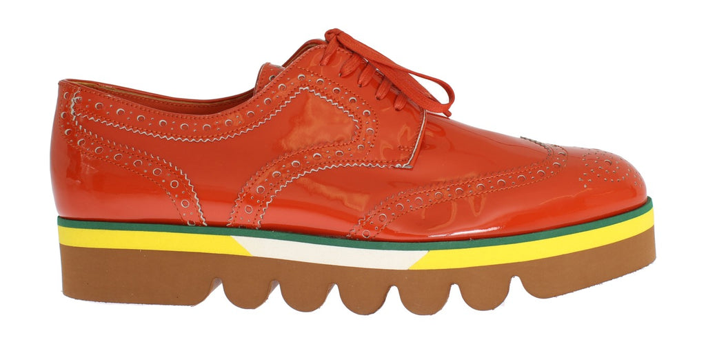 Orange Leather Wingtip Oxford Shoes