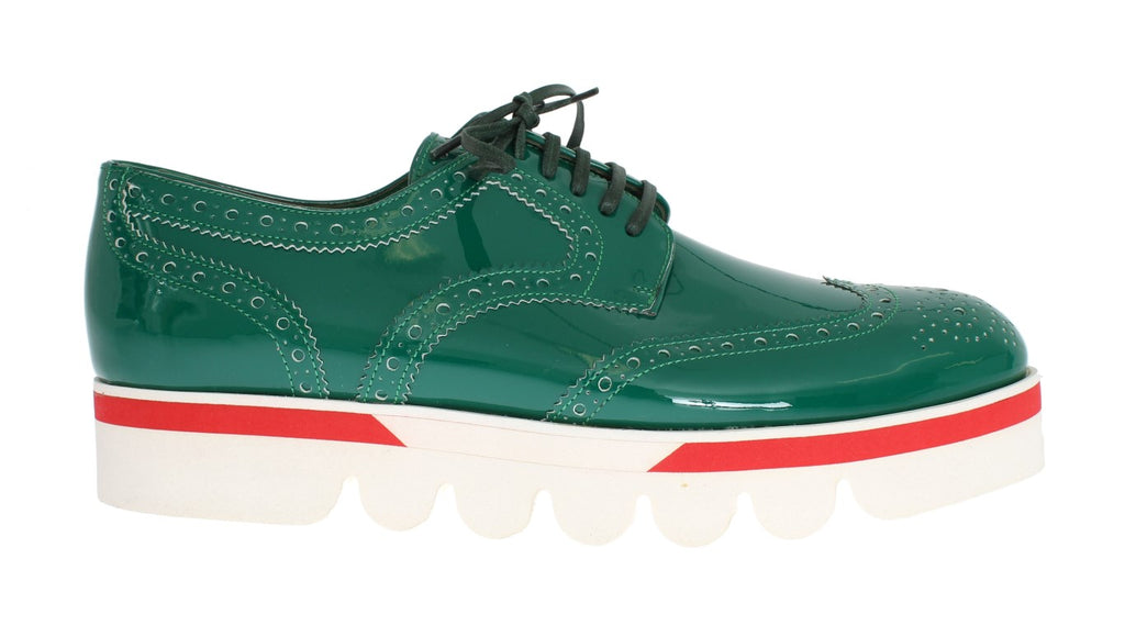 Green Leather Wingtip Oxford Shoes