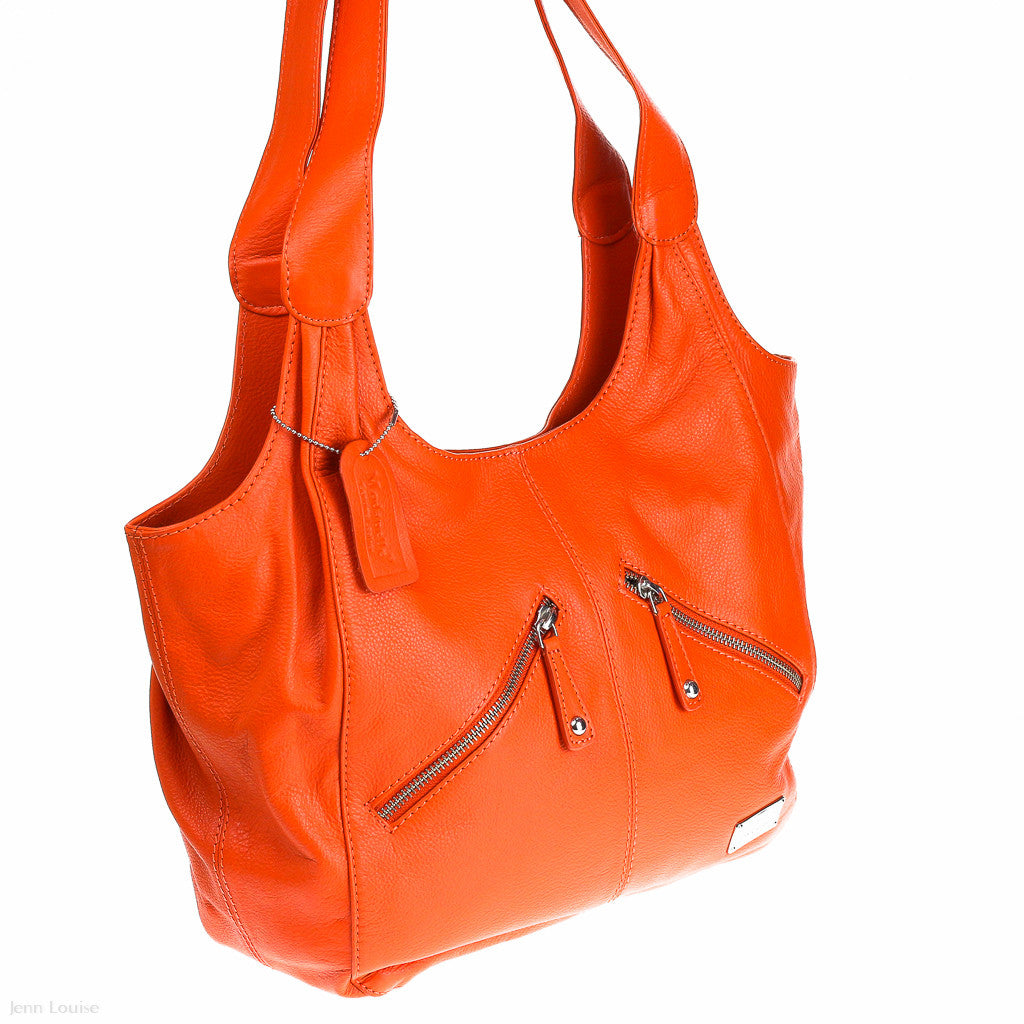 Large Leather Shoulder Bag (Orange handbag)