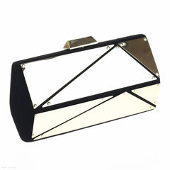 Velvet Angular Pod Clutch (Black/Gold)