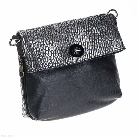 Foldover Leather Cross Body Bag (Black)