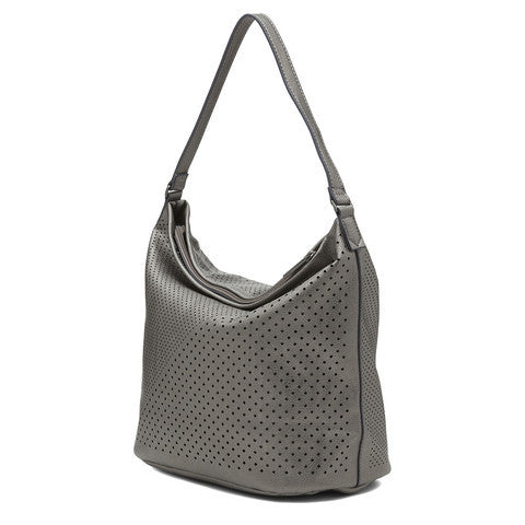 Sashenka 'Sutton' Industria Laser Cut Hobo - SA9170 (metallic handbag)