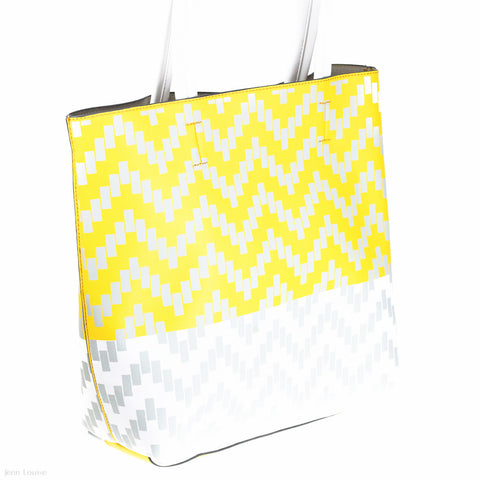 Printed Tote (Yellow/White/Beige handbag)