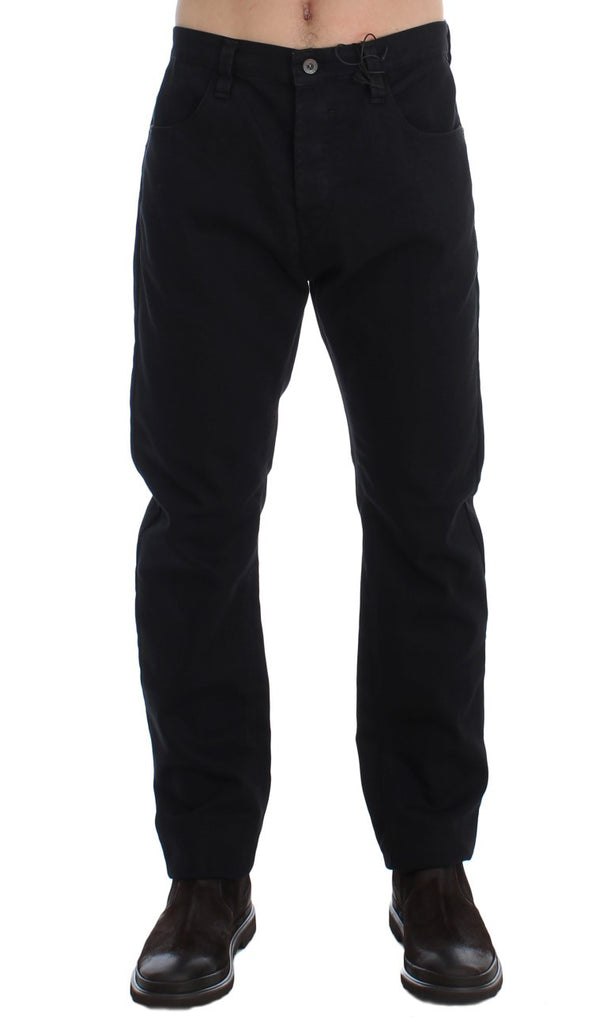 Black Straight Cotton Stretch Denim Jeans