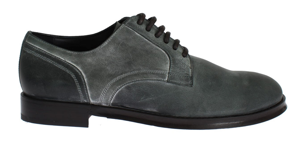 Green Leather Laceups Dress Formal Shoes