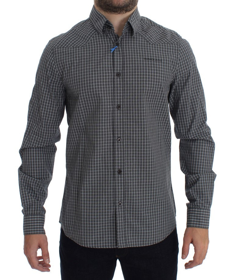 Gray Checkered Slim Fit Cotton Shirt