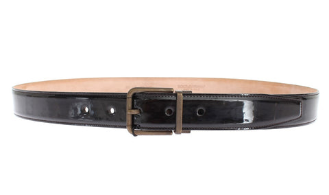 Black Patent Leather Buckle Waist Belt