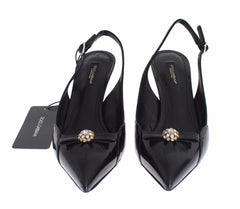 Black Leather Crystal Slingbacks Heels Shoes