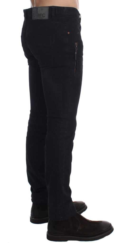 Black Slim Fit Cotton Stretch Chinos Jeans