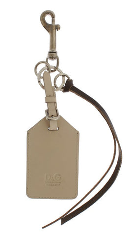 White Leather Metal Keychain