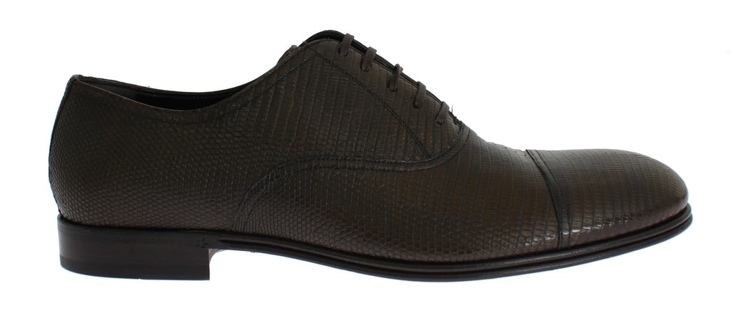 Brown Lizard Skin Laceups Dress Shoes