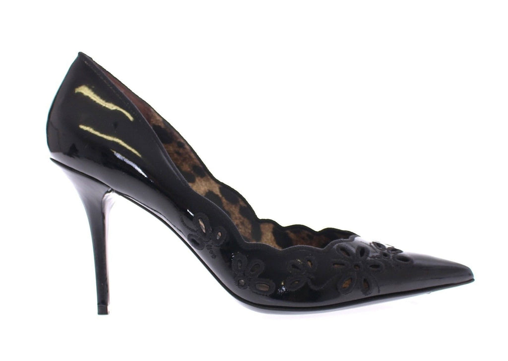 Black Leather Floral Classic Pumps Shoes