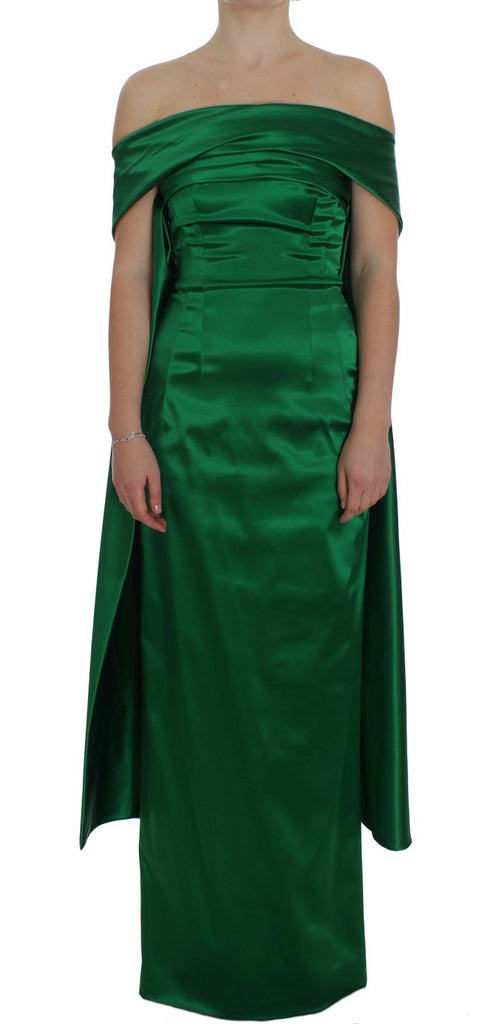 Green Full Length Ball Gown Sheath Dress