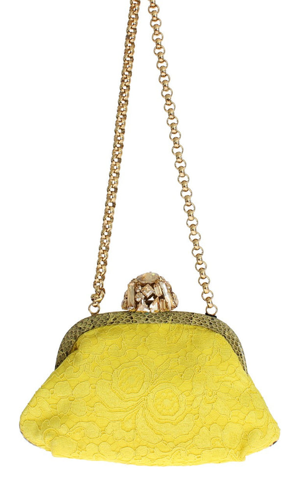 MISS DEA Bag Yellow Lace Snakeakin Crystal Clutch