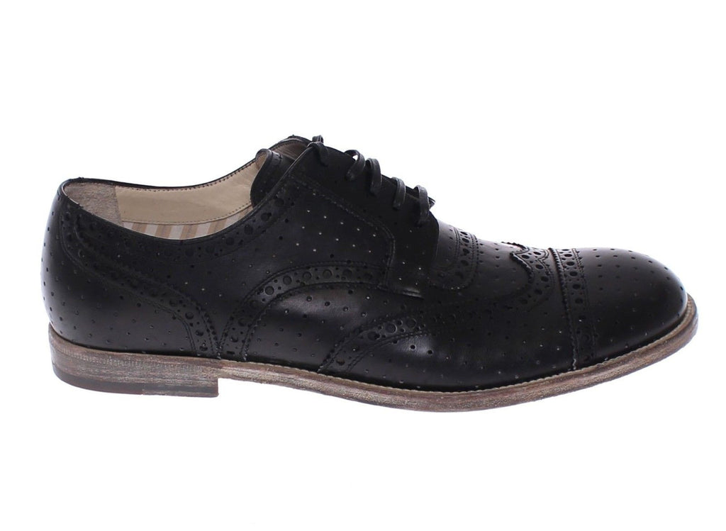 Black Leather Wingtip Formal Shoes