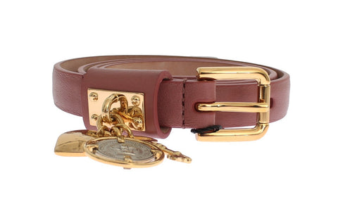 Brown Sicily gold charm leather belt