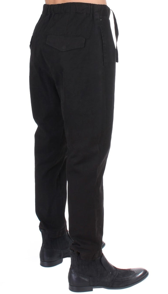 Black striped cotton stretch casual pants