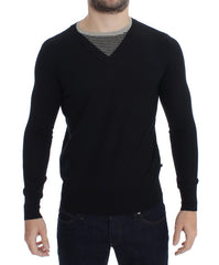 Black Crewneck Wool Blend Sweater