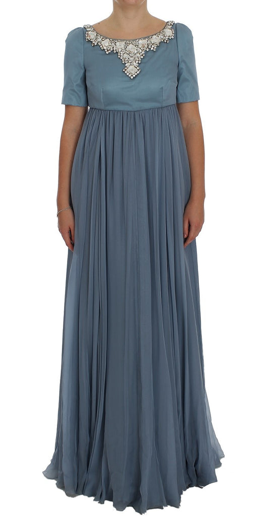 Blue Silk Crystal Sheath Gown Ball Dress