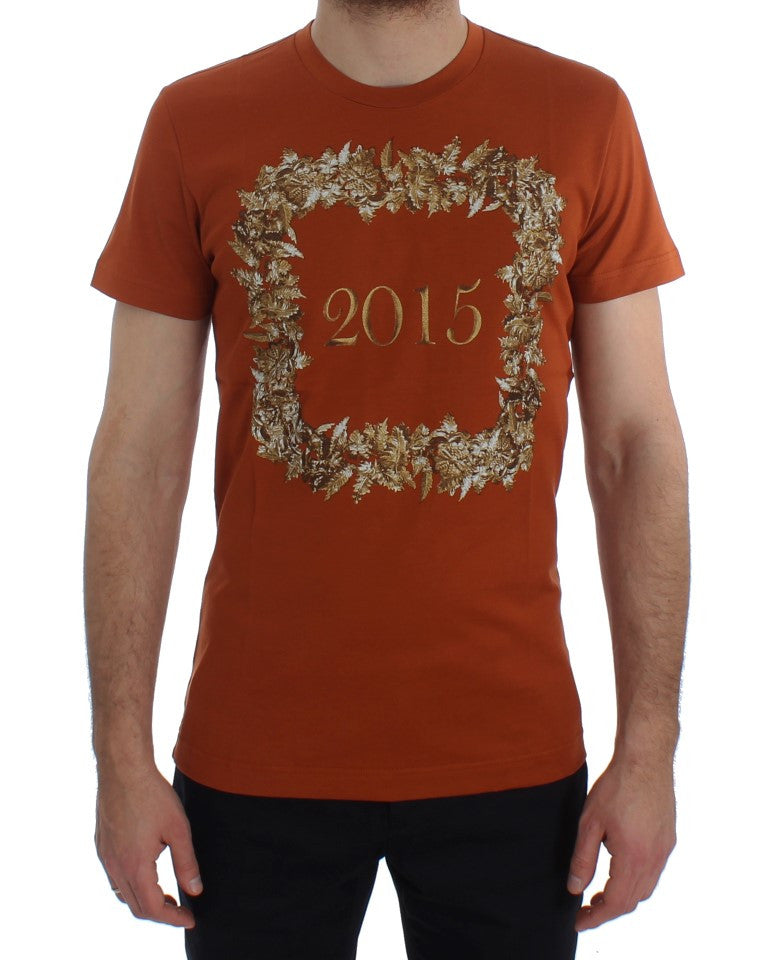 Crewneck 2015 Motive Print Orange Cotton T-shirt