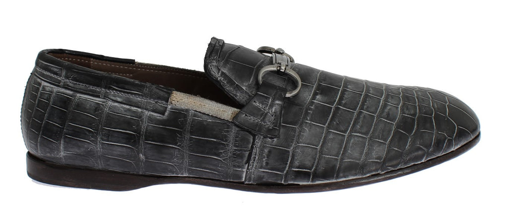 Gray Crocodile Loafers Dress Formal Shoes