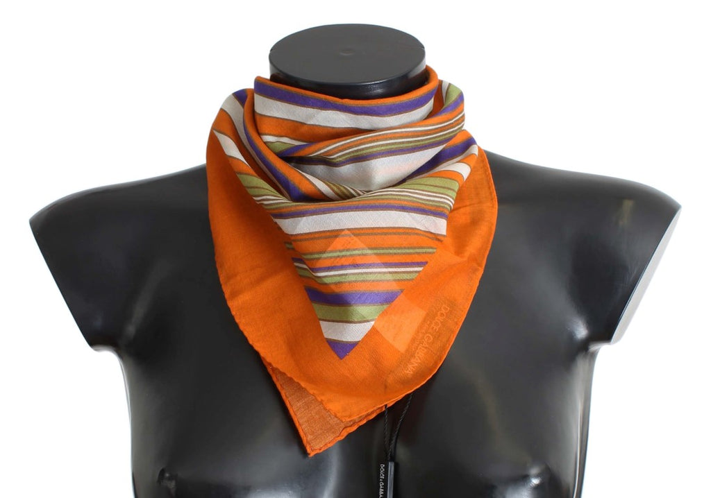 Orange Striped Cotton Scarf
