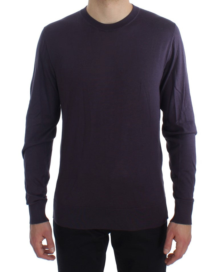 Purple Crewneck Pullover Silk Sweater