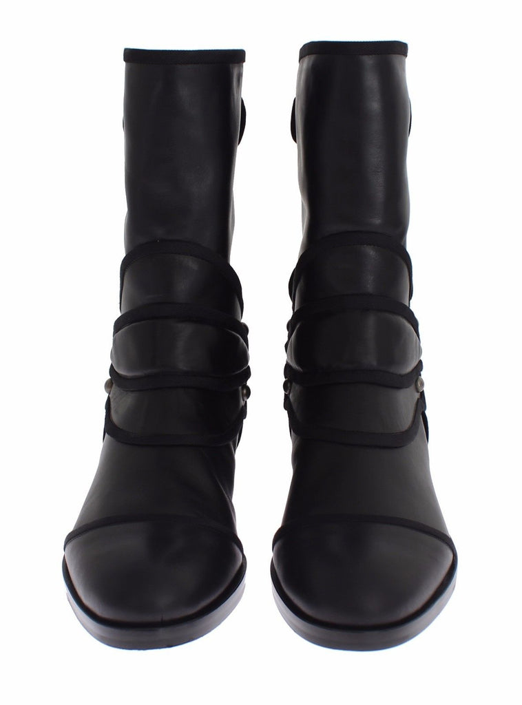 Black Leather Mid-Calf Flat Boots Shoes