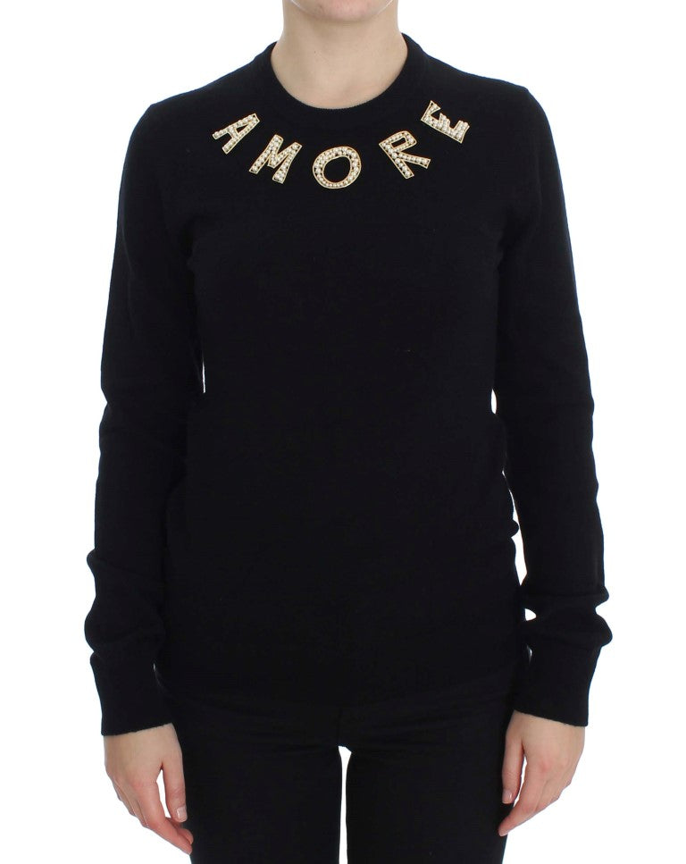 Black Cashmere AMORE Pearls Gold Sweater