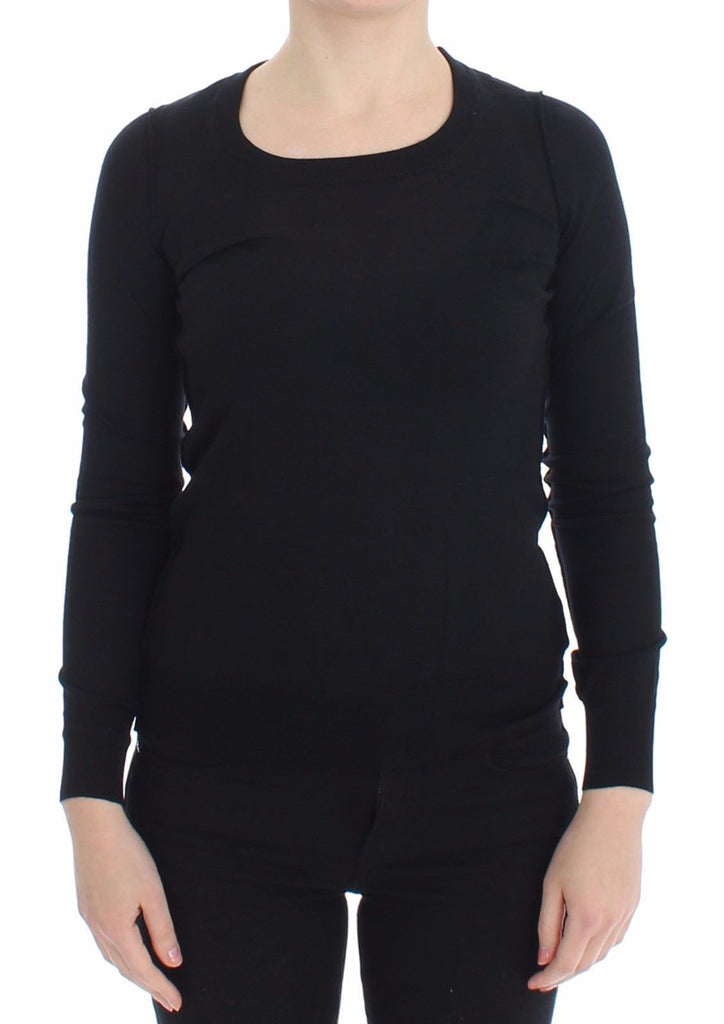 Black Wool Crewneck Sweater Pullover Top