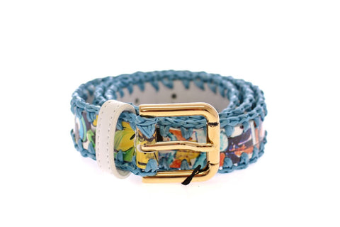 Multicolor Leather Pottery Floral Print Belt