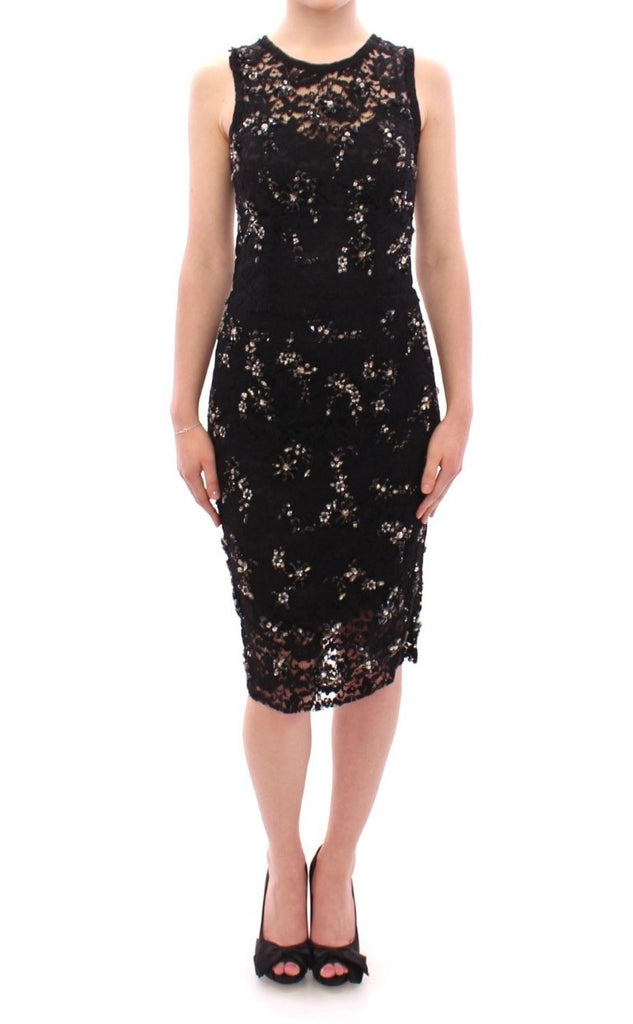 Black floral lace crystal embedded dress