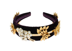 Purple Velvet Gold Brass Pearl Crystal Headband