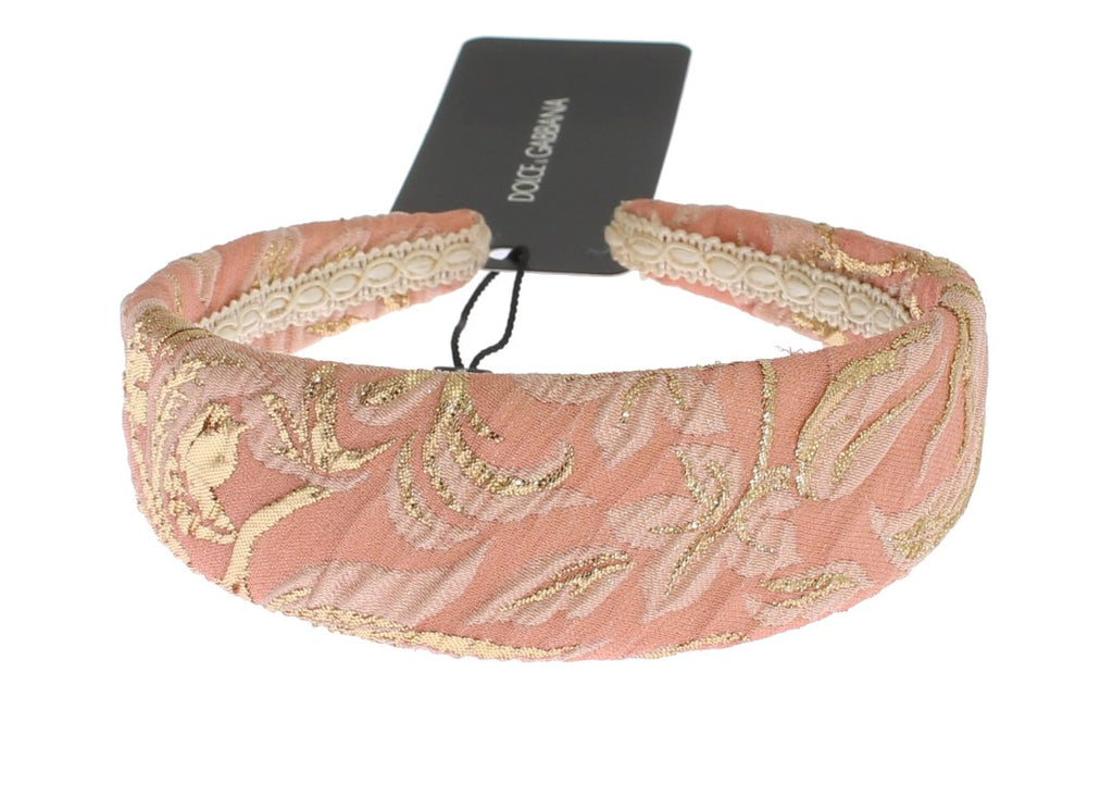 Pink Gold Brocade Silk Headband