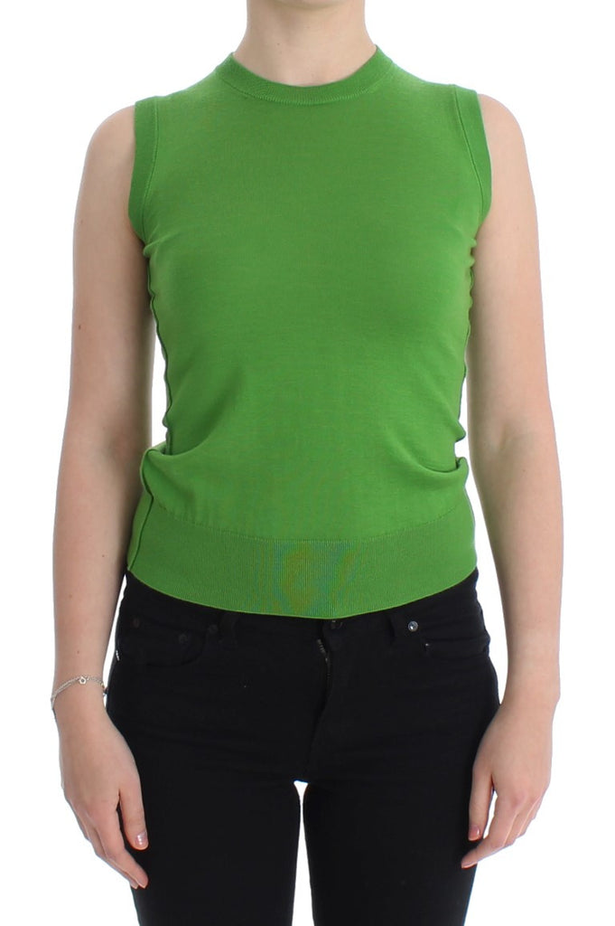 Green cashmere tank top