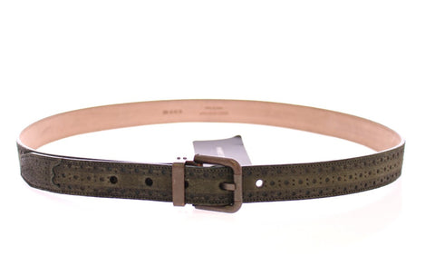 Green Leather Logo Belt