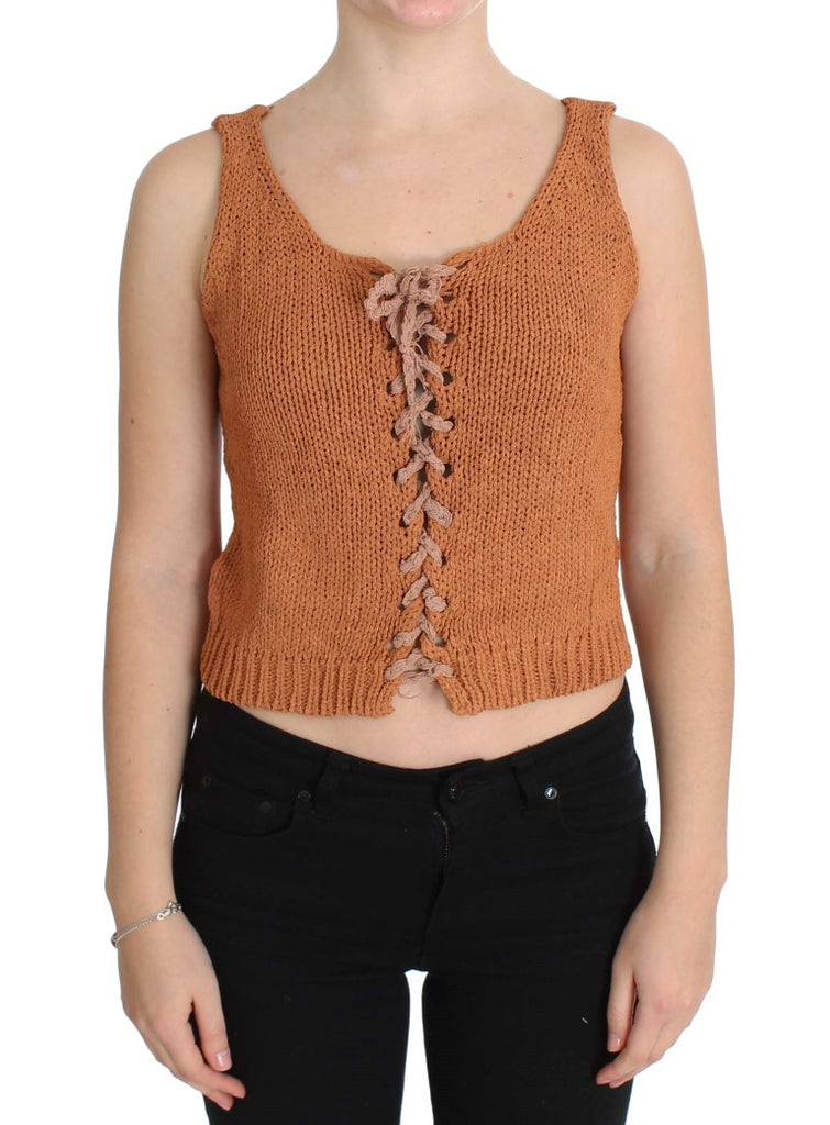 Orange Cotton Knitted Sleeveless Sweater