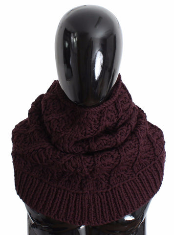 Purple Wool Knitted Mens Warmer Scarf