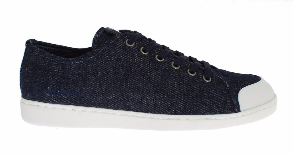 Mens Blue Denim Leather Casual Sneakers Shoes