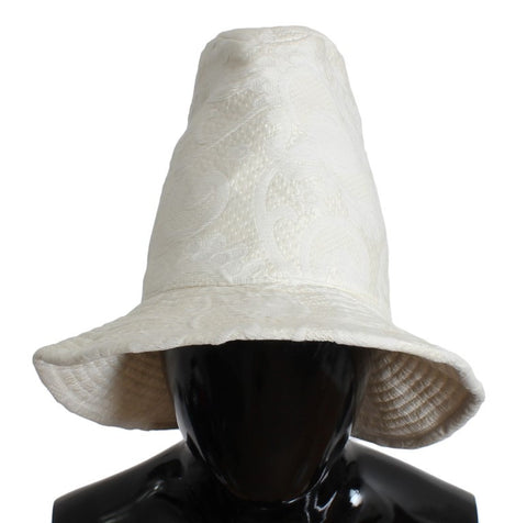White Floral Cotton Silk Bucket Hat