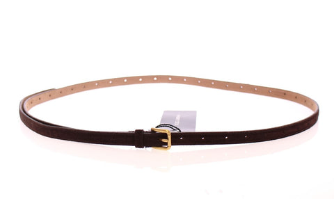Brown Suede Leather Logo Belt